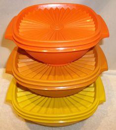 Vintage Tupperware, Vintage Kitchenware, My Childhood Memories, Sweet Memories, I Dream Of Genie, Yellow Bowls, Good Ole, Bowl Set, Vintage Toys