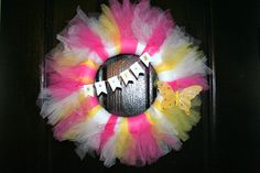 Spring tulle wreath Crafts To Do, Arts And Crafts, Diy Crafts, Holiday Decorations, Holiday Crafts, Tulle Wreath, Love Craft, Wreath Crafts, Front Door Decor