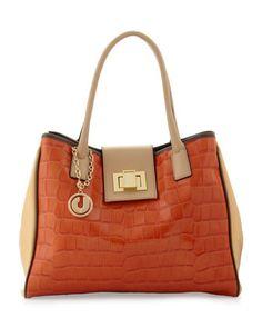 Angela Colorblock Bag, Orange/Beige by Charles Jourdan at Last Call by Neiman Marcus.
