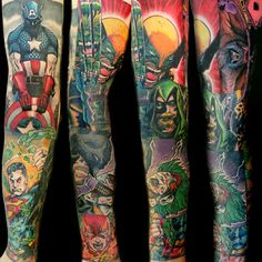 Comic Book Sleeve Tattoo by Steve Rieck from Las Vegas, NV
