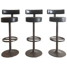 1960s Steel and Leather Modernist Bar Stools | From a unique collection of antique and modern stools at https://www.1stdibs.com/furniture/seating/stools/