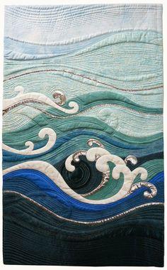 "Art Quilts Around The World : Monochromatic 2 - Neroli Henderson - ""The Churning"" - Google Search"
