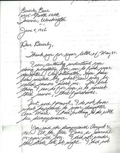 Ted Bundy letter to the mother of Anne Marie Burr. Famous Serial Killers, Jeffrey Dahmer, Natural Born Killers, Creepy Facts, Ted Bundy, Creepy Stories, Criminology, Cold Case, Lost Soul