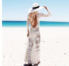 vestido largo crochet, espalda