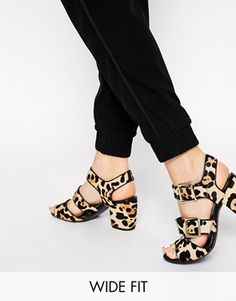 New Look Wide Fit Preview Faux Ponyskin Heeled Sandals