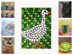 Mosaics: Paper, card stock, newspaper, magazines, tissue paper, print out templates of animal/simple image outlines