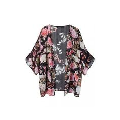 Cape Chiffon Cardigan In Floral Print ($55) ❤ liked on Polyvore ...