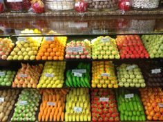 Marzipan at Sekerci Cafer Erol Produce Displays, Fruit Displays, Fruit And Veg Shop, Food Company Logo, Marzipan Fruit, Vegetable Shop, Supermarket Design, Food Retail, Rainbow Food