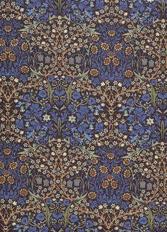 Rare ROSE & HUBBLE Woodrow Art Nouveau William Morris Fabric BLACKTHORN Blue