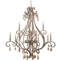 Crystorama Shelby 12 Lights Distressed TwiLights Chandelier