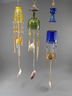 These beautiful windchimes are made from vintage glasses and other items.  I use copper wire to add the details.  Very elegant for any outdoor space.  Prices vary from $55 and up.
