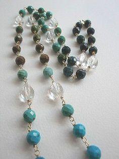 Long necklace, blue jeans turquoise, quartz