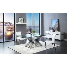 The picture of Modern Rectangular Glass Dining Table - Dining Room Tables With Glass. Glass Dining Room Table, Rectangle Dining Table, Modern Dining Room Tables, Pedestal Dining Table, Luxury Dining Room, Dining Rooms, Modern Table, Table Decor Living Room, Living Room End Tables