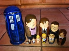 Hand painted nesting dolls w/ all 11 re/generations of the Doctor plus the Tardis. It doesn't matter that the faces are goofy, this is just fricken brilliant.