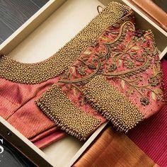 - Source by sinthujasivalog - Blouse Back Neck Designs, Cutwork Blouse Designs, Wedding Saree Blouse Designs, Hand Work Blouse Design, Golden Blouse Designs, Simple Blouse Designs, Stylish Blouse Design, Designer Blouse Patterns, Sarees