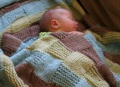 Cute handmade knitted blanket for newborn babies - light blue, yellow and brown colour - checked pattern / Knitted throw