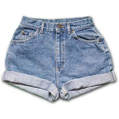 Vintage 90s Lee light/medium Blue Wash High Waisted Rise Cut Offs... ($28) ❤ liked on Polyvore featuring shorts, bottoms, jeans, black, women's clothing, high waisted denim shorts, high waisted shorts, denim cutoff shorts, denim cut-off shorts and high-waisted cutoff shorts