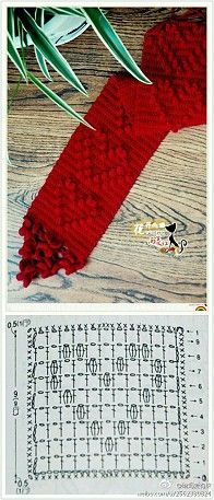 Love heart scarf - free crochet diagram