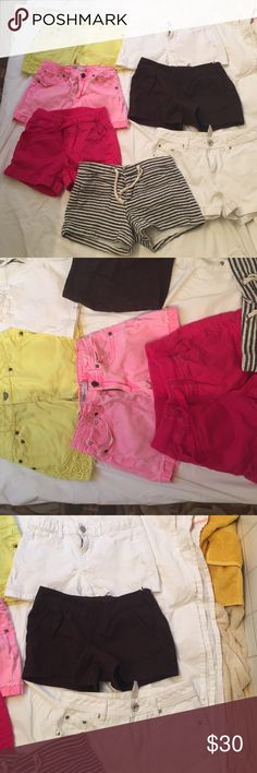 Lot of 7 Girl's shorts Hot pink shorts size 12 R from Justice. Light pink unknown brand size 14 (runs small) - yellow shorts from Justice size 14R, black and white stripes size 12 from GapKids, white shirts size  12R from Justice, white shorts size 14 from GapKids, sparkly brown shorts size 12 from GapKids. Bottoms