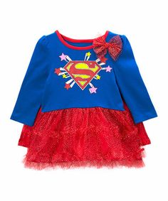 This Red & Blue Supergirl Tutu Dress - Infant & Toddler by Superman is perfect! Supergirl, Superman, Tutu, Red And Blue, Girl Fashion, That Look, Girl Outfits, Graphic Sweatshirt, Sweatshirts