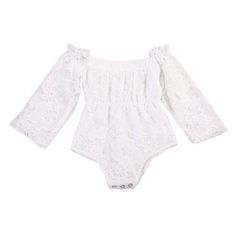 >> Click to Buy << Summer Newborn Toddler Baby Girl Clothes Lace Bodysuit Off-shoulder Solid Color Brief Long Sleeve Outfits 0-24M #Affiliate