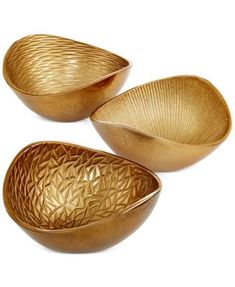 Simply Designz Serveware, Set of 3 Metallic Organic Nut Bowls