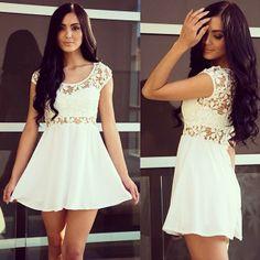 white dress with dark hair<3