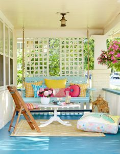 30 Pretty Porch Ideas for the Perfect At-Home Escape Whether you're looking to entertain, dine, or j Porch Wall, Diy Porch, Porch Ideas, Patio Ideas, Backyard Ideas, Painted Porch Floors, Porch Flooring, Porch Furniture, Outdoor Furniture