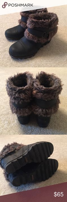 Sorel black wedge booties with fur Sorel black wedge booties with Moto ankle strap and fur lining that can be worn two ways Sorel Shoes Winter & Rain Boots