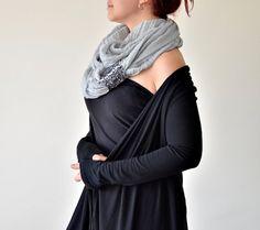 Infini foulard écharpe plissée gris tricoté brassard par ReddApple, $29.00