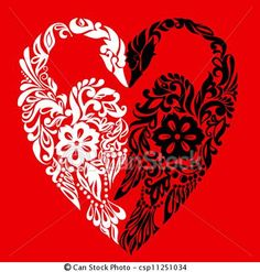 Vector - Swans in the form of heart, symbol of love, abstract background - stock illustration, royalty free illustrations