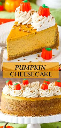 This easy Pumpkin Cheesecake recipe makes a smooth & creamy cheesecake that's full of pumpkin flavor & spice! Topped with a cream cheese whipped cream, it makes the best Fall treat & holiday dessert! Pumpkin Cheesecake Recipes, Best Cheesecake, Pumpkin Recipes, Delicious Desserts, Dessert Recipes, Fall Treats, Holiday Desserts, Whipped Cream, Spice