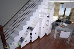 Decorations:Pull Out White Drawer Wine Rack Cellar Under Stair Also Wooden Handrail On Laminate Wooden Flor Smart Utilization Under Stair Wine Storage Ideas
