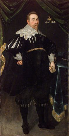 Gustav II Adolf, King of Sweden (1611–1632) wears the Swedish Protestant fashions of the 17th century. Boots adorned with flowers, doublet, cuffs and sheer collar.