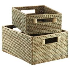 """Mineral Green (other colors too) Rattan Bins $29.99 11.25"""" x 15"""" x 7"""" high containerstore.com"""