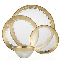 Solaris Dinnerware in Gold - Sets of 4