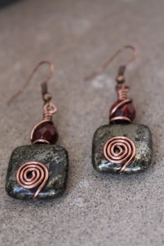 wire wrapped jewelry handmade , Rustic Earrings, antique earrings