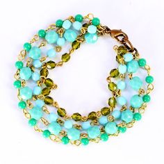 Muti Bead Aqua and Green Chain Bracelet by NestPrettyThingsShop