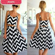 """SALE!! 2 pcs Chevron Crop Top/Skirt Set Dress TODAY ONLY!!  Sexy, cute and so chic two piece dress.  Crop top design that zipped on side High waisted Knee level skirt zipped on side approximately 26"""" long. Material is polyester.  Comes in S M L.  XL is only available by preorder.  All sizes available S-XL Skirts Skirt Sets"""