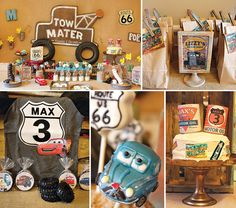 "Vintage ""Radiator Springs"" Cars Themed Birthday Party by Triple M Good Parties Cake pops by Evie and Mallow Disney Party Decorations, Disney Cars Party, Disney Cars Birthday, Car Birthday, Birthday Ideas, Car Themed Parties, Cars Birthday Parties, V Max, Radiator Springs"