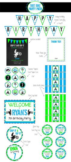 Dirt Bike Birthday Party SUPER Party Pack by aRodgersDesigns, $35.00