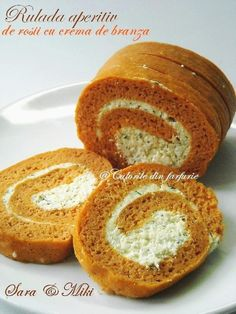 » Rulada aperitiv de rosii cu crema de branzaCulorile din Farfurie Tapas, Romanian Food, Romanian Recipes, Party Platters, Food Cakes, Cake Recipes, Deserts, Food And Drink, Sweets