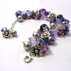 Purple cha cha bracelet including my own lampwork beads