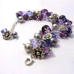 Purple cha cha bracelet including my own lampwork beads