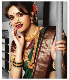 bridal jewelery on any #nauvarisaree beauty tip from @sajfashion #nauvari #saree
