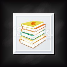 Stack Of Books On A Square Blackboard Icon royalty-free stock vector art