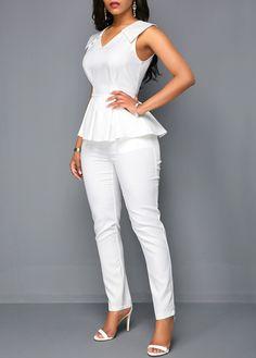 White V Neck Sleeveless Peplum Jumpsuit All White Party Outfits, All White Outfit, White Peplum, White Jumpsuit, White V Necks, Overall, Jumpsuits For Women, African Fashion, Fashion Outfits