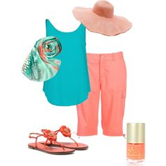 Resort casual. Salmon and turquoise.