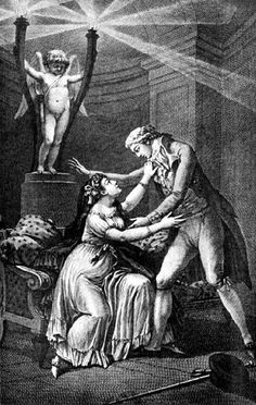 Illustration from the first edition of Les Liaisons Dangereuses. This engraving, which was  included in the original book,  was done by Charles Monnet.