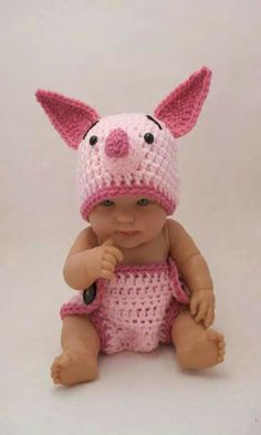 the CoOl Kids - New moms take a look at this adorable crochet Piglet Disney outfit for your new baby from KreativeKroshay. Whether you have a baby boy or baby girl, you will love these Disney baby outfits from Etsy. Crochet Bebe, Knit Crochet, Crochet Hats, Crochet Outfits, Crochet Woman, Knitted Baby, Crochet Baby Costumes, Crochet Ideas, Free Crochet